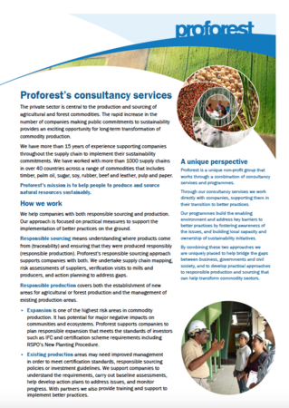 Proforest's consultancy services