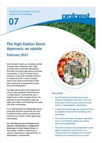 The High Carbon Stock Approach: an update